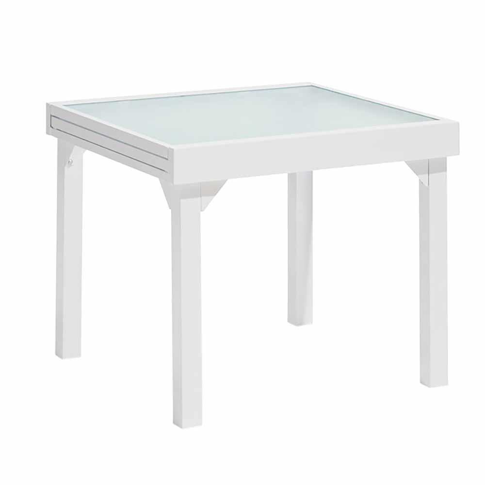 Table De Jardin Extensible Oslow 4 À 8 Personnes Blanc Gris intérieur Table De Jardin Carrée 8 Personnes