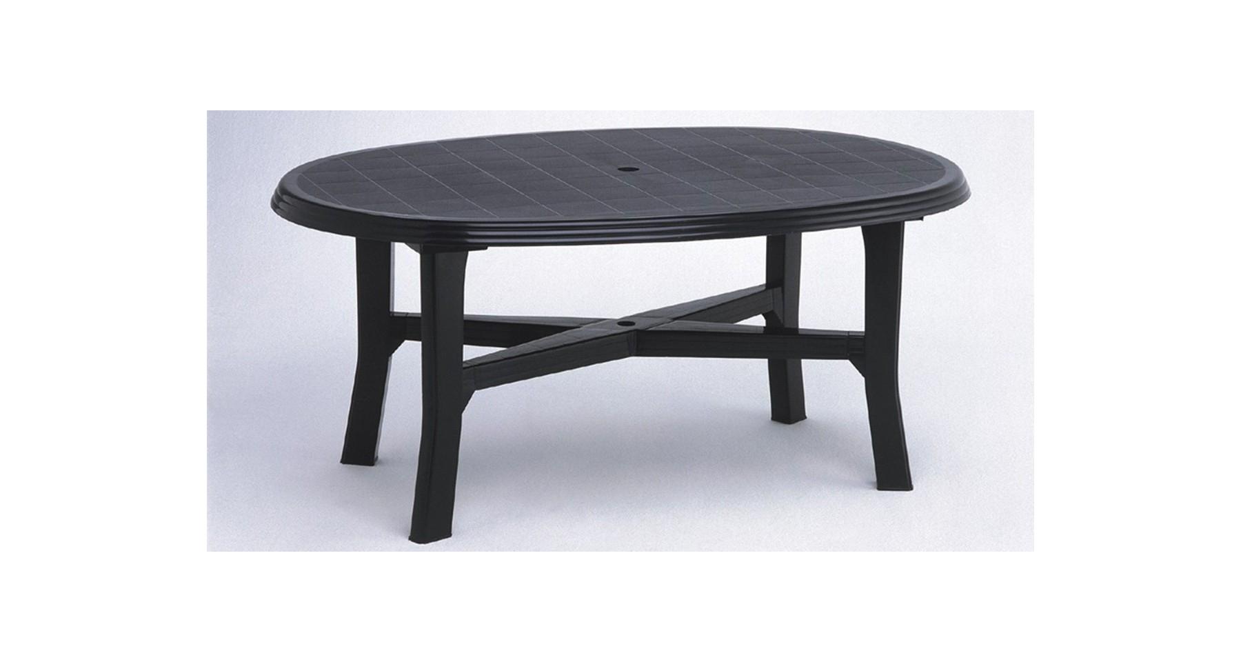Table De Jardin Gris Anthracite Ovale En Résine Plastique 6 Personnes Load concernant Table Jardin 6 Personnes