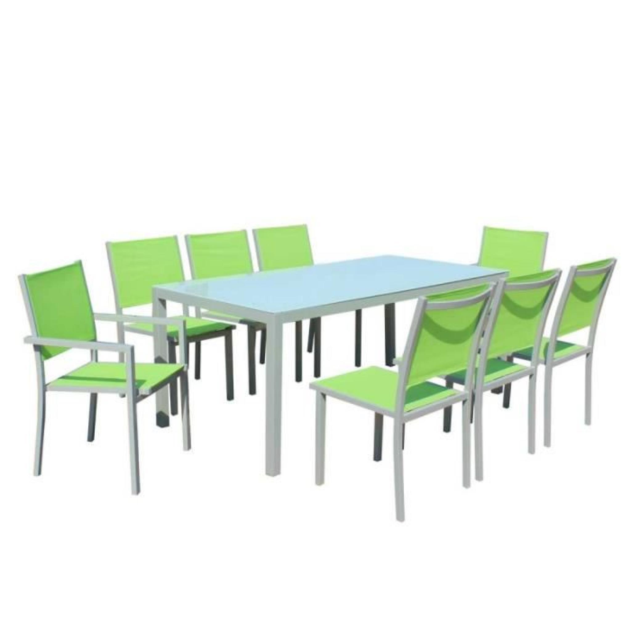 Table Et Chaises De Jardin - 8 Fauteuils Pliants - Aluminium Et Verre dedans Table Et Chaises De Jardin Pas Cher