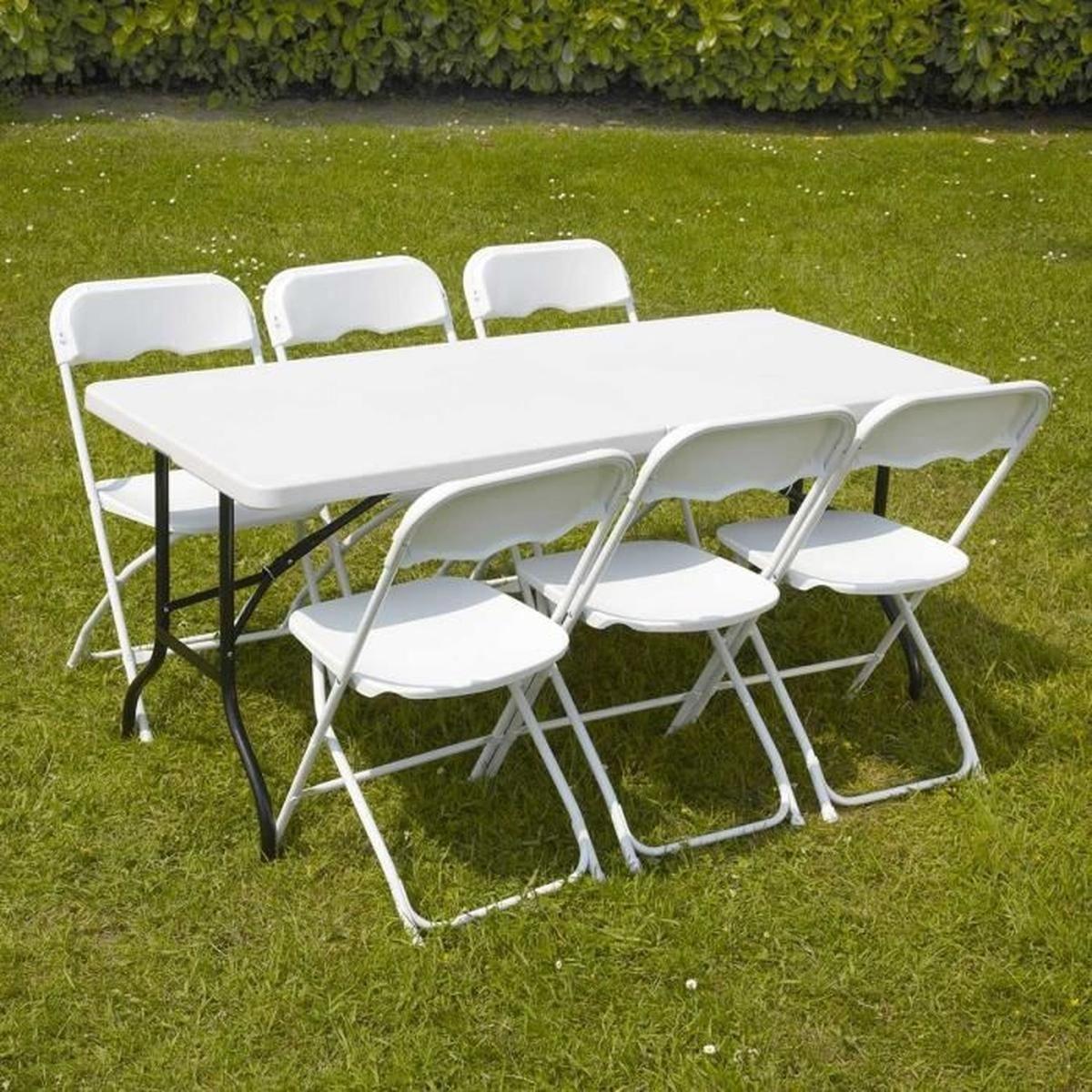 Table Et Chaises Pliantes 6 Personnes - Achat / Vente ... encequiconcerne Ensemble Table Et Chaise De Jardin Pas Cher