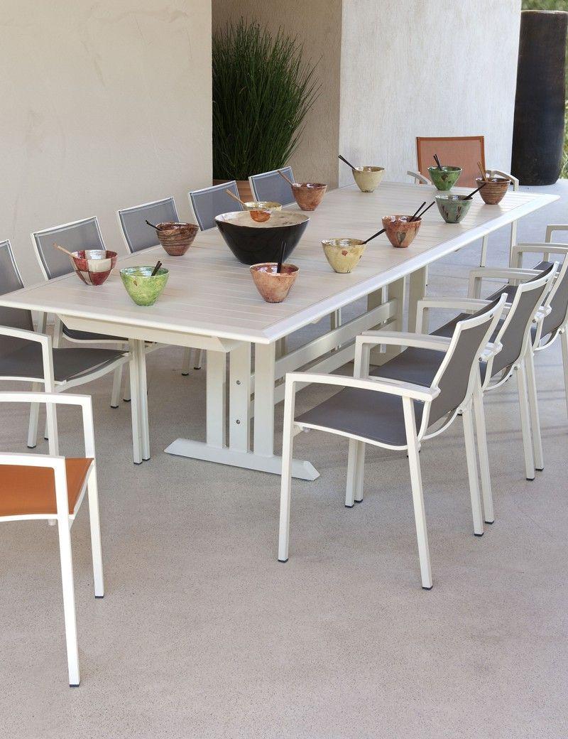 Table Extensible Blanc 100% Alu - Les Jardins Vente Privée ... encequiconcerne Vente Privée Jardin