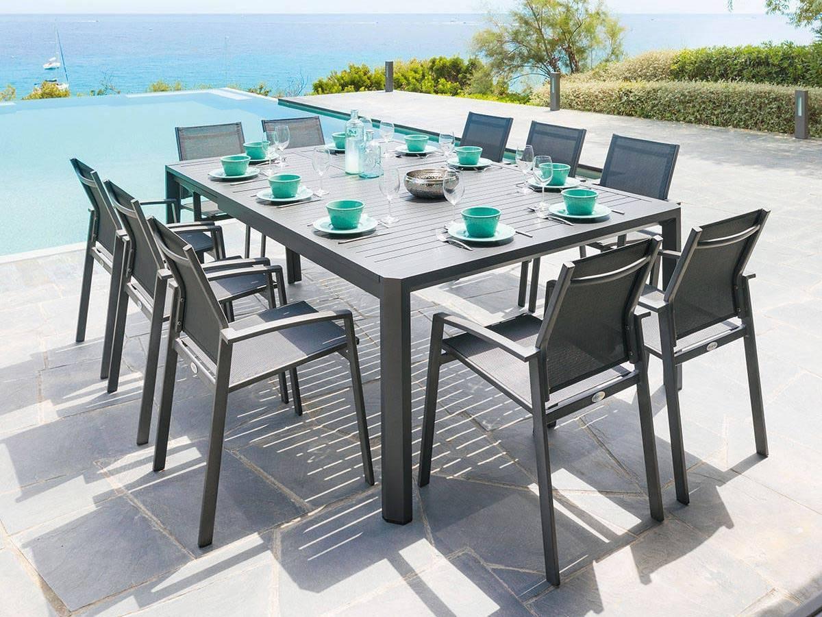 Table Extensible Séville 8/10 Places Graphite avec Table De Jardin Carrée 8 Personnes