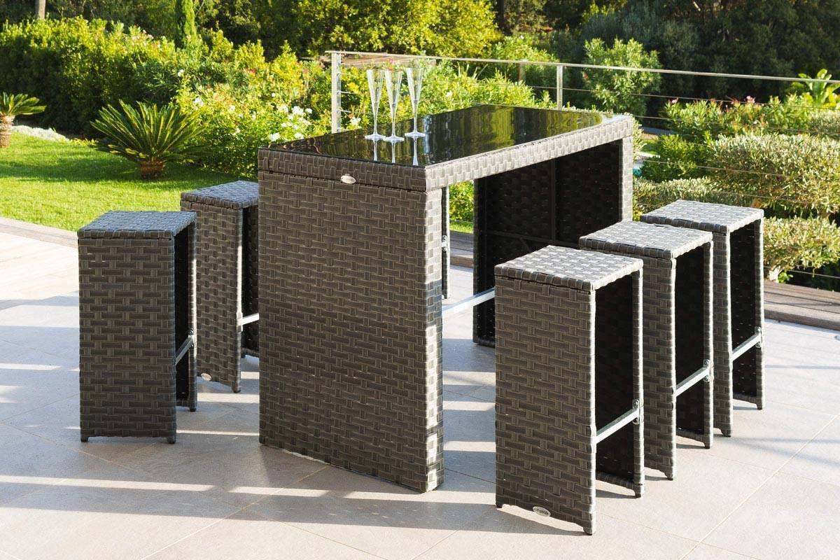 Table Haute Et 6 Tabourets Hauts Tinos Blue Stone | Mobilier ... intérieur Salon De Jardin Table Haute
