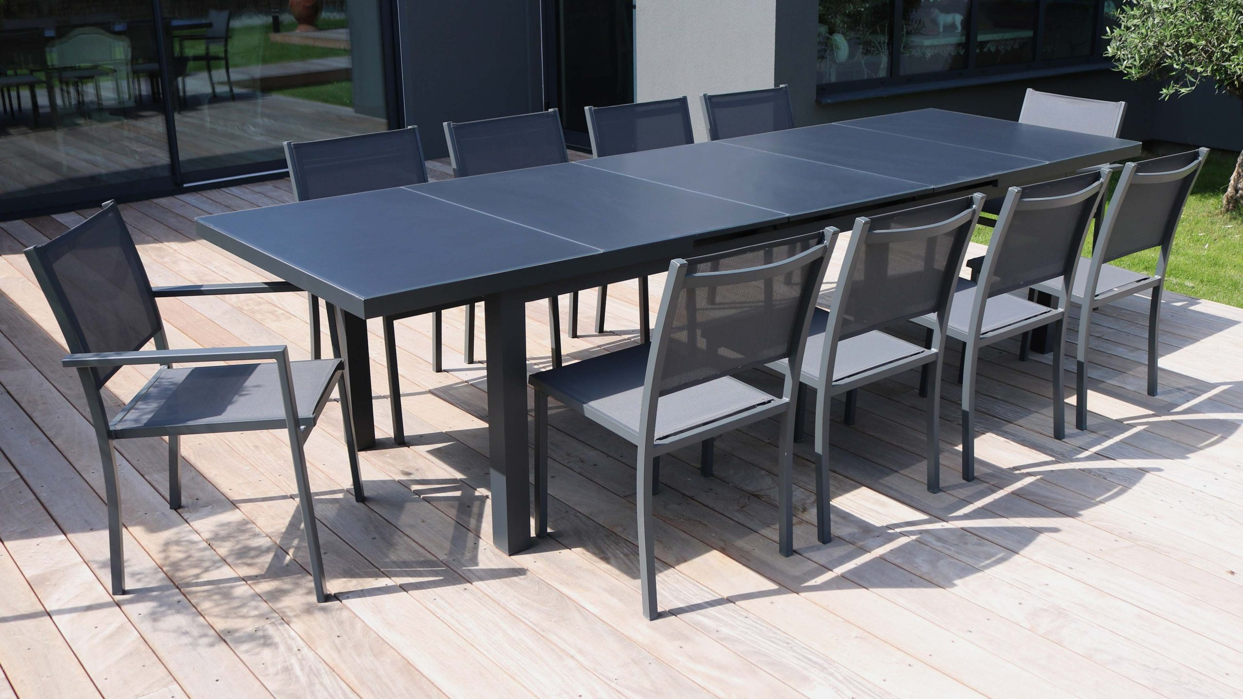 Table Jardin Extensible Rallonge 256/320 Cm 10 Places à Table Jardin 10 Personnes