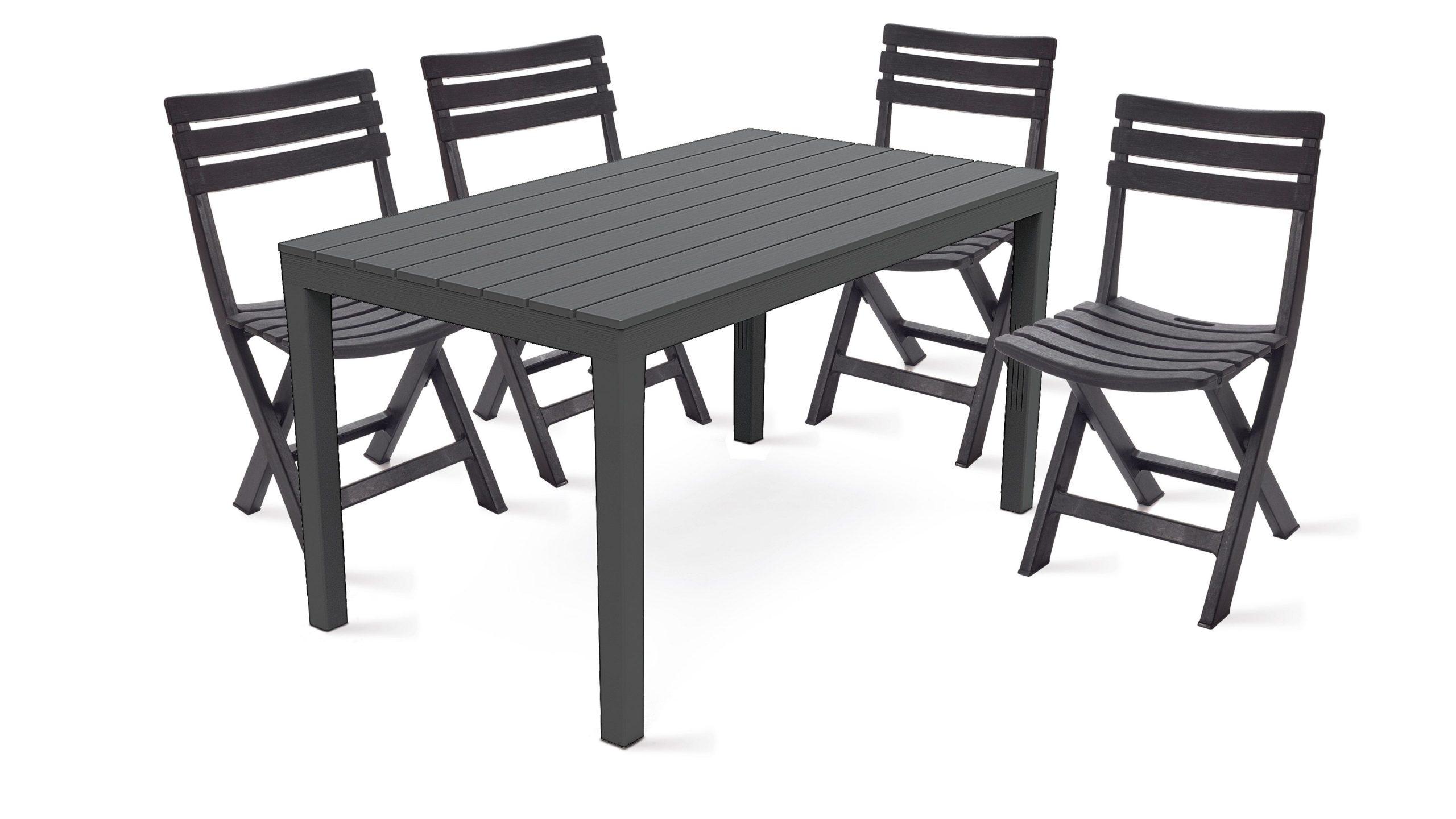 Table Jardin Plastique Et Chaises Pliantes dedans Salon De Jardin Plastique Pas Cher
