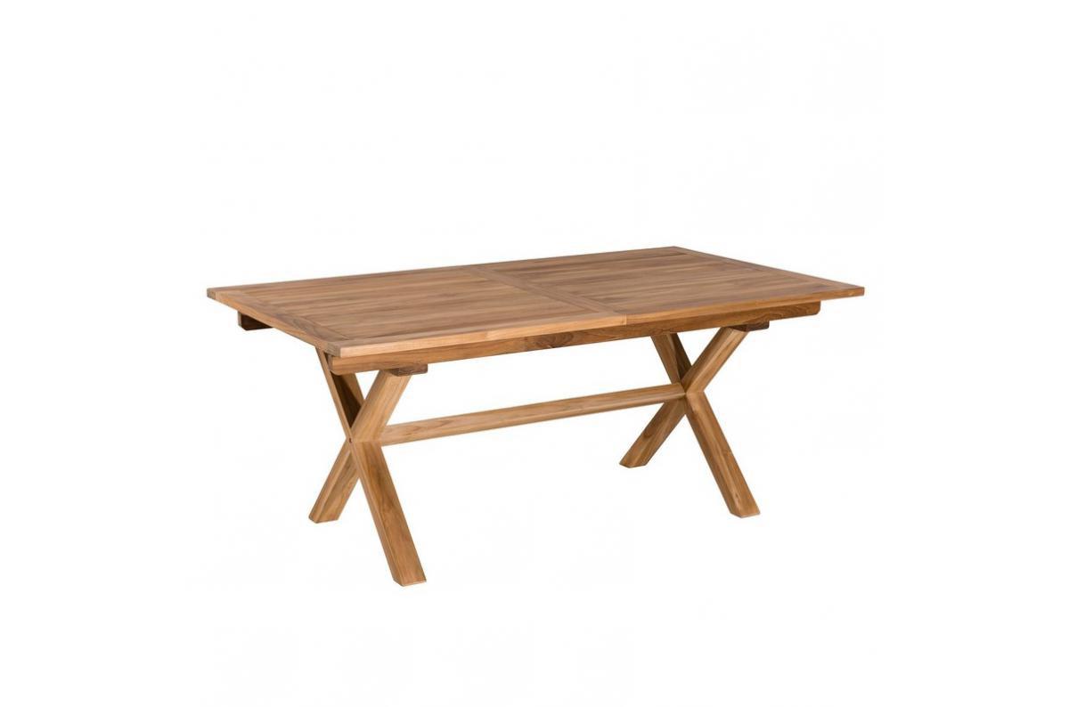 Table Rectangulaire Extensible Pieds Croisés En Teck Massif Plus D's encequiconcerne Salon De Jardin En Teck Pas Cher