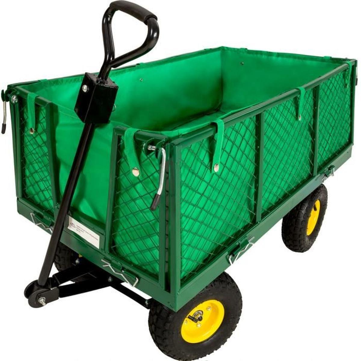 Tectake Chariot De Jardin + Bâche Charge Maximum 550 Kg Vert ... destiné Chariot De Jardin 4 Roues