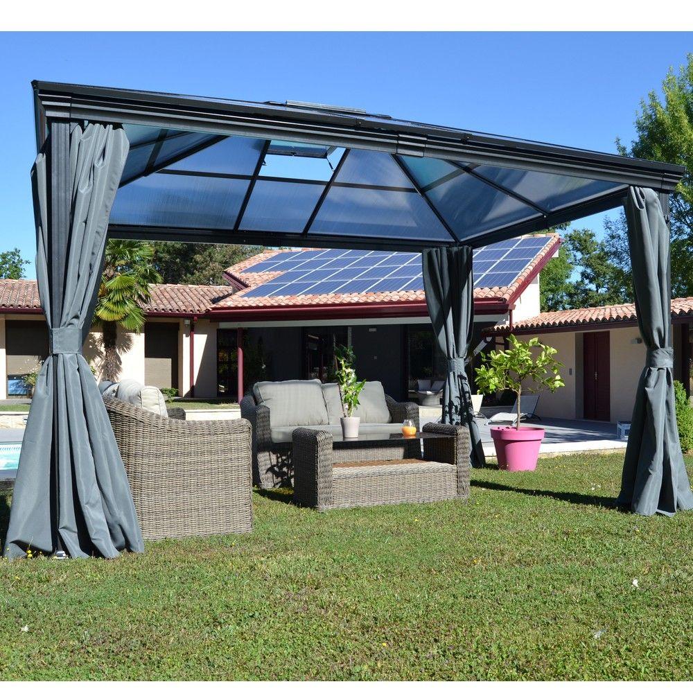Tonnelle Autoportante Aluminium + Toit Polycarbonate 3X3,6M Jade dedans Tonnelle De Jardin En Bois