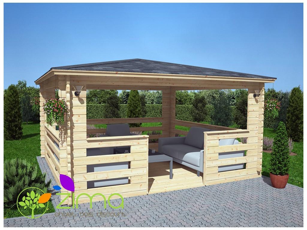 Tonnelle En Bois Massif 16M² 4X4 44Mm à Tonnelle De Jardin En Bois