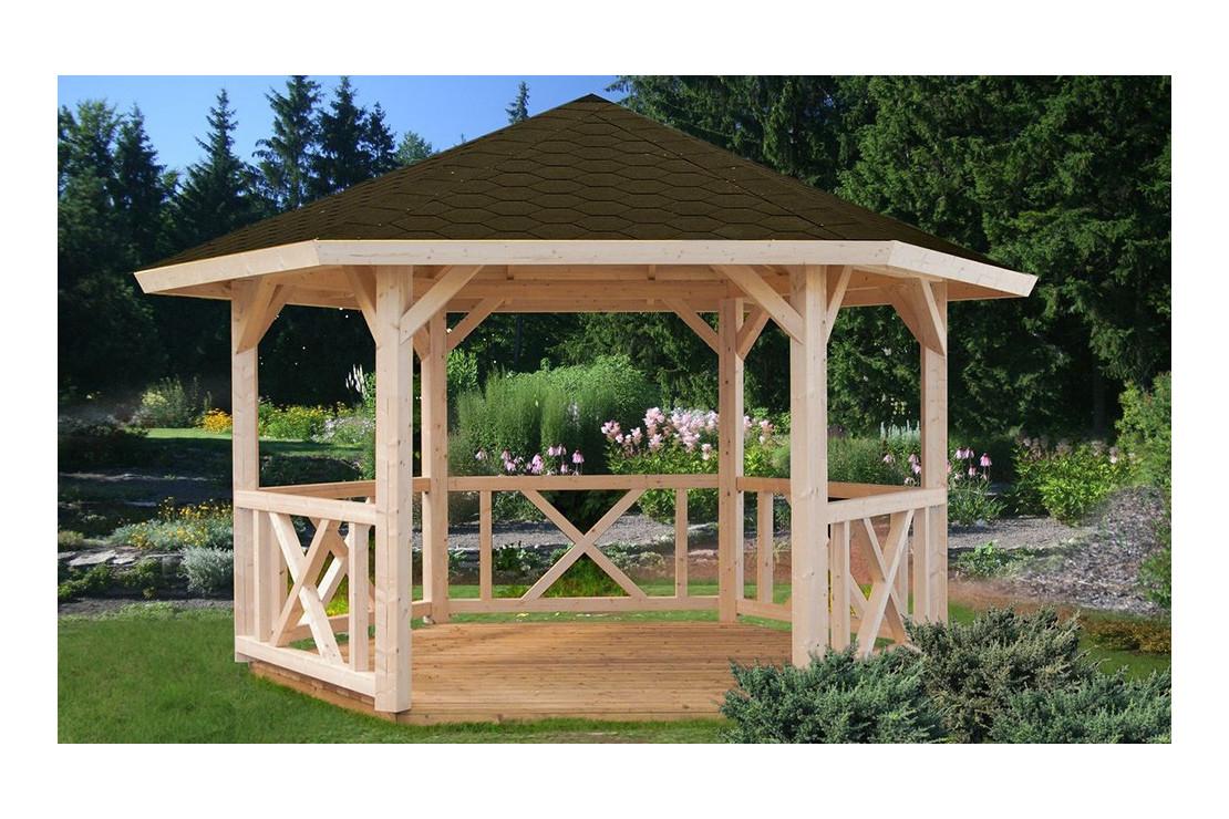 Tonnelle Gloriette 1 - 10M² Intérieur - Poteaux 14 X 14 encequiconcerne Tonnelle De Jardin En Bois