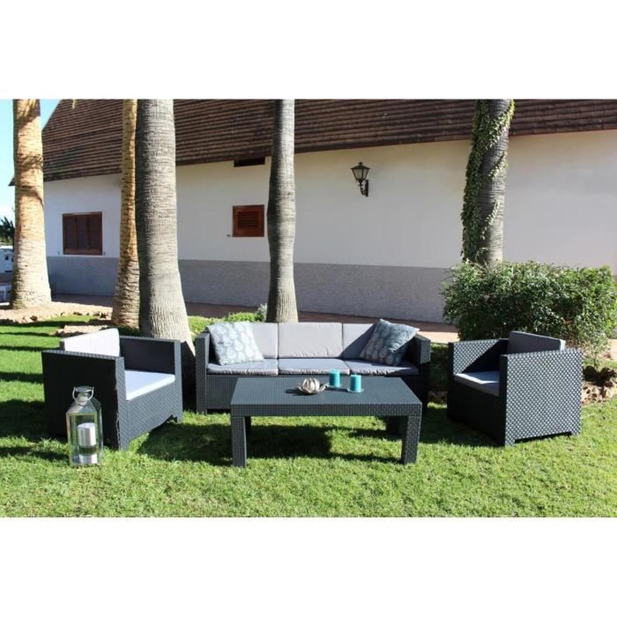 Tropea: Salon De Jardin 5 Places Effet Résine Tressée ... avec Cdiscount Salon De Jardin Resine Tressee