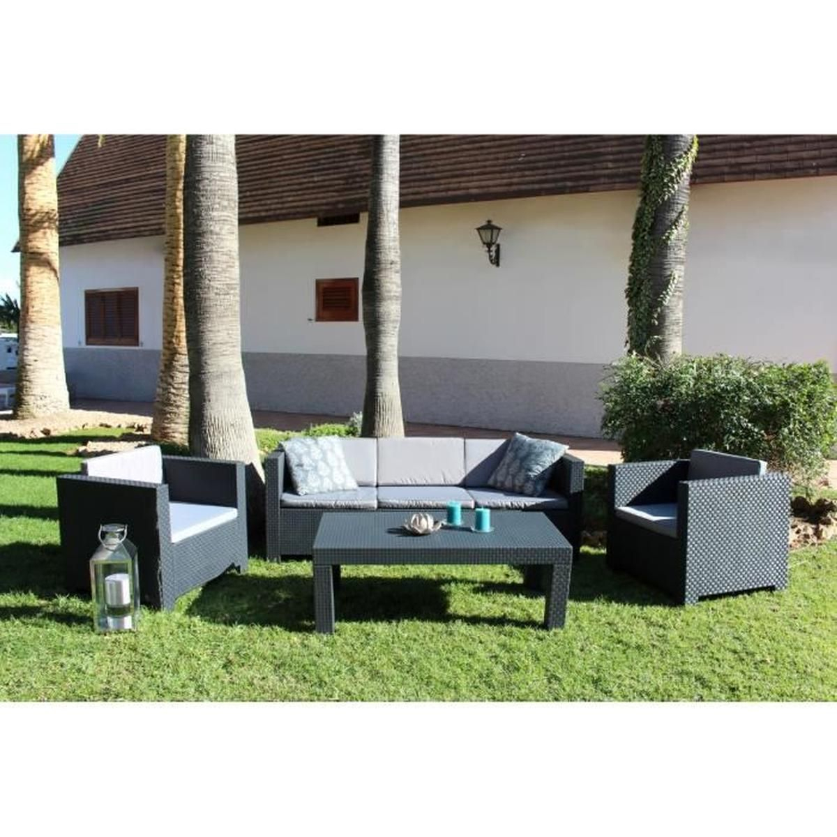 Tropea: Salon De Jardin 5 Places Effet Résine Tressée ... encequiconcerne Cdiscount Salon De Jardin Resine