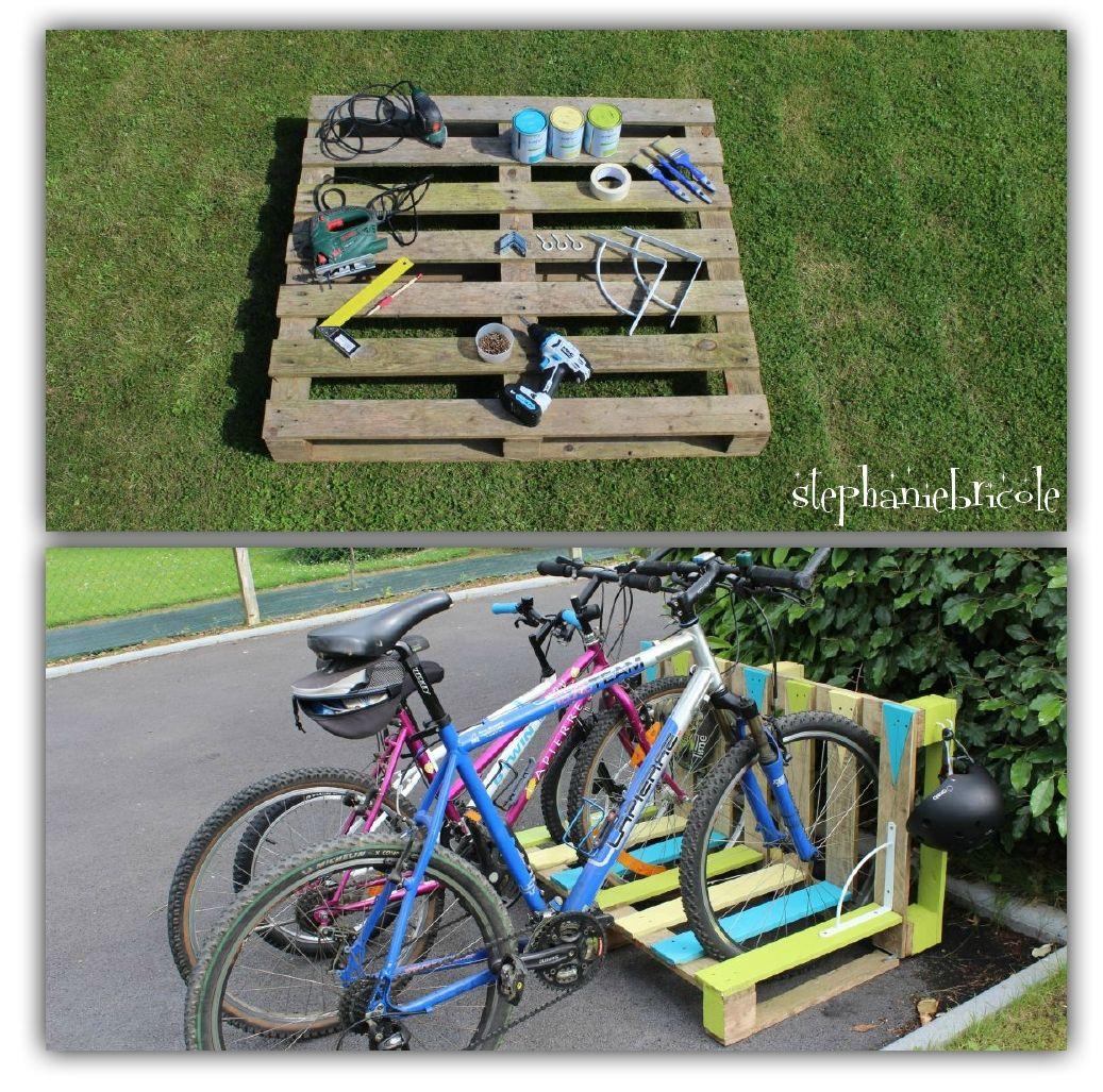 Un Range-Vélo Récup' En Palette | Range Velo, Palette Diy Et ... avec Velo Deco Jardin