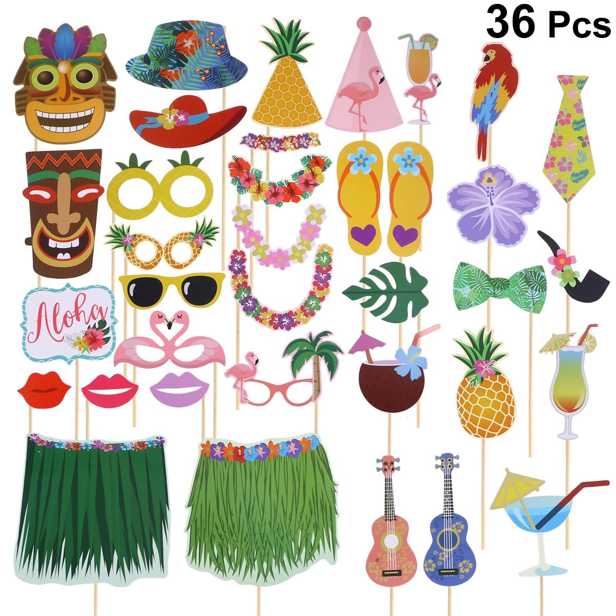 Us $7.57 35% Off|Ev Ve Bahçe'ten Fotoğraf Kabini Donanımları'de 36 Adet  Yaratıcı Fotoğraf Sahne Hawai Temalı Komik Fotoğrafçılık Sahne Doğum Günü  ... destiné Salon De Jardin Hawai