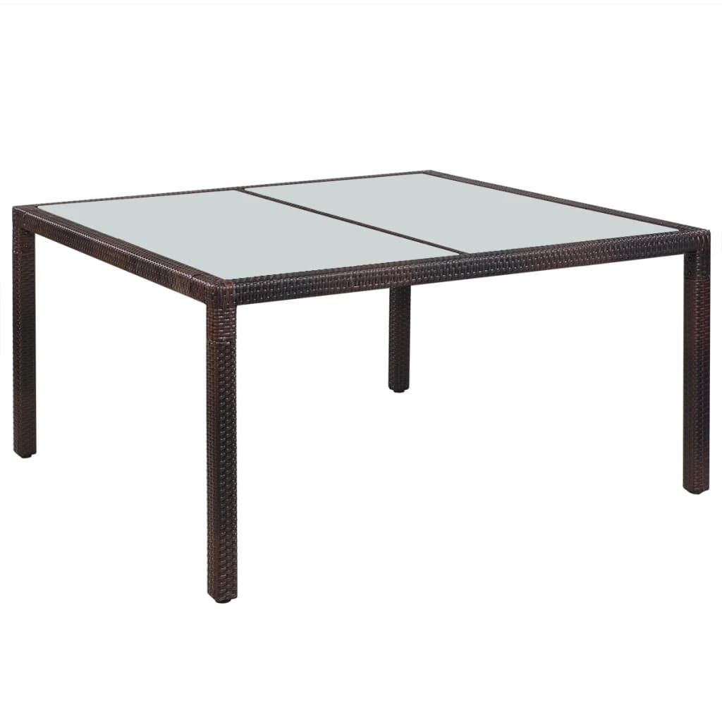 Vidaxl Table De Jardin Marron 150X90X75 Cm Résine Tressée ... pour Table De Jardin En Resine Tressée