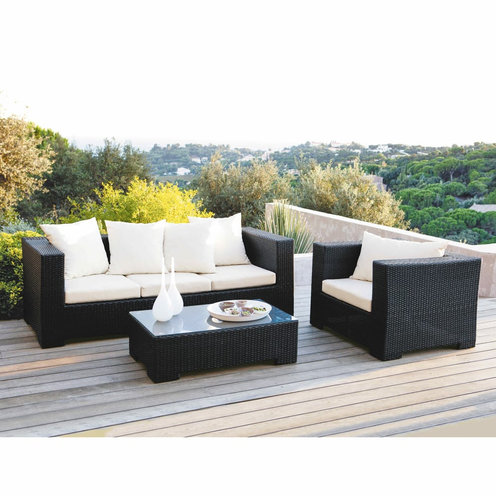 Wicker Garden Balck Armchair serapportantà Salon De Jardin Maison Du Monde