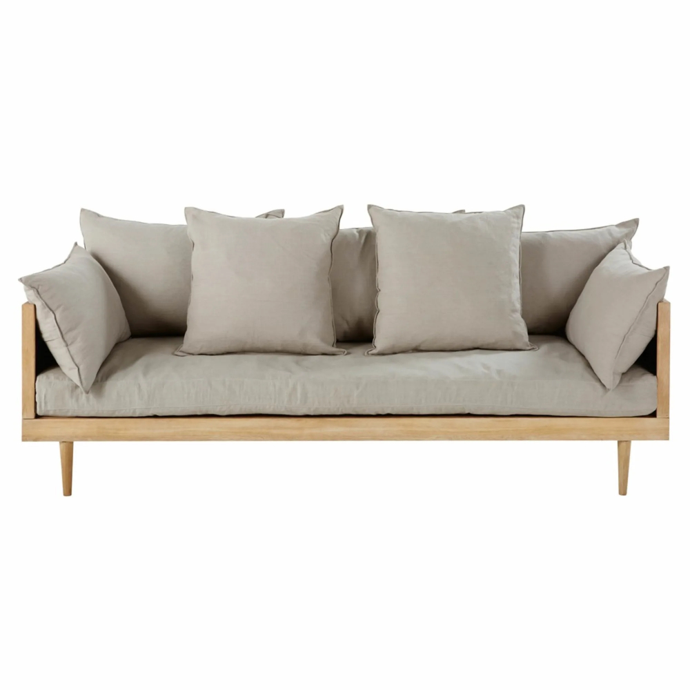 3-4-Sitzer-Sofa Mit Leinenbezug, Hellgrau Mathis | Maisons ... avec Canape But Mathis