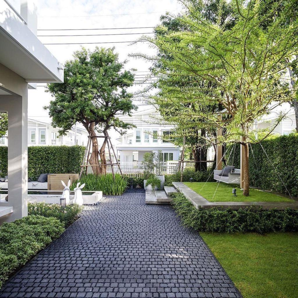 34 Beautiful Modern Front Yard Landscaping Ideas | Jardin ... dedans Deco Jardin Moderne
