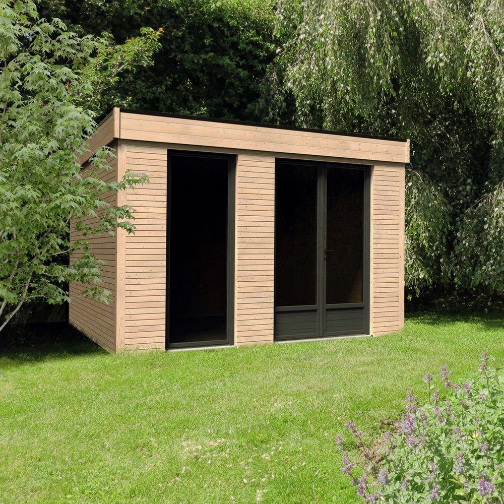Abri De Jardin Semi Habitable Toit Plat Décor Home 10,91 M² Ep. 90 Mm pour Abri De Jardin Semi Habitable