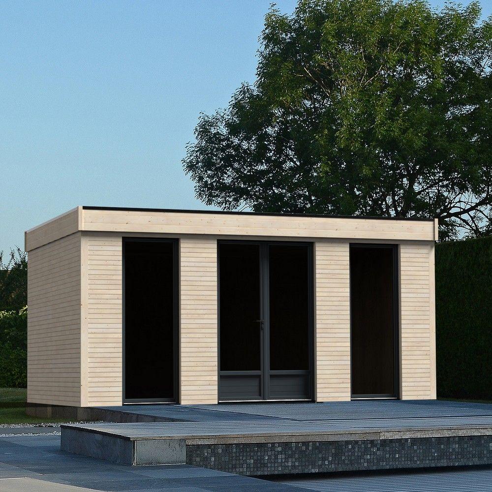 Abri De Jardin Semi Habitable Toit Plat Décor Home 18,14 M² Ep. 90 Mm intérieur Abri De Jardin Semi Habitable