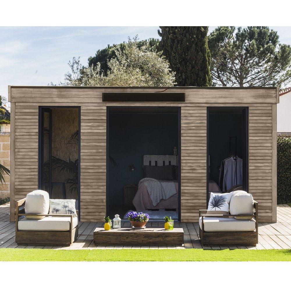 Abri De Jardin Semi Habitable Toit Plat Décor Home 24,70 M² Ep. 90 Mm intérieur Abri De Jardin Semi Habitable