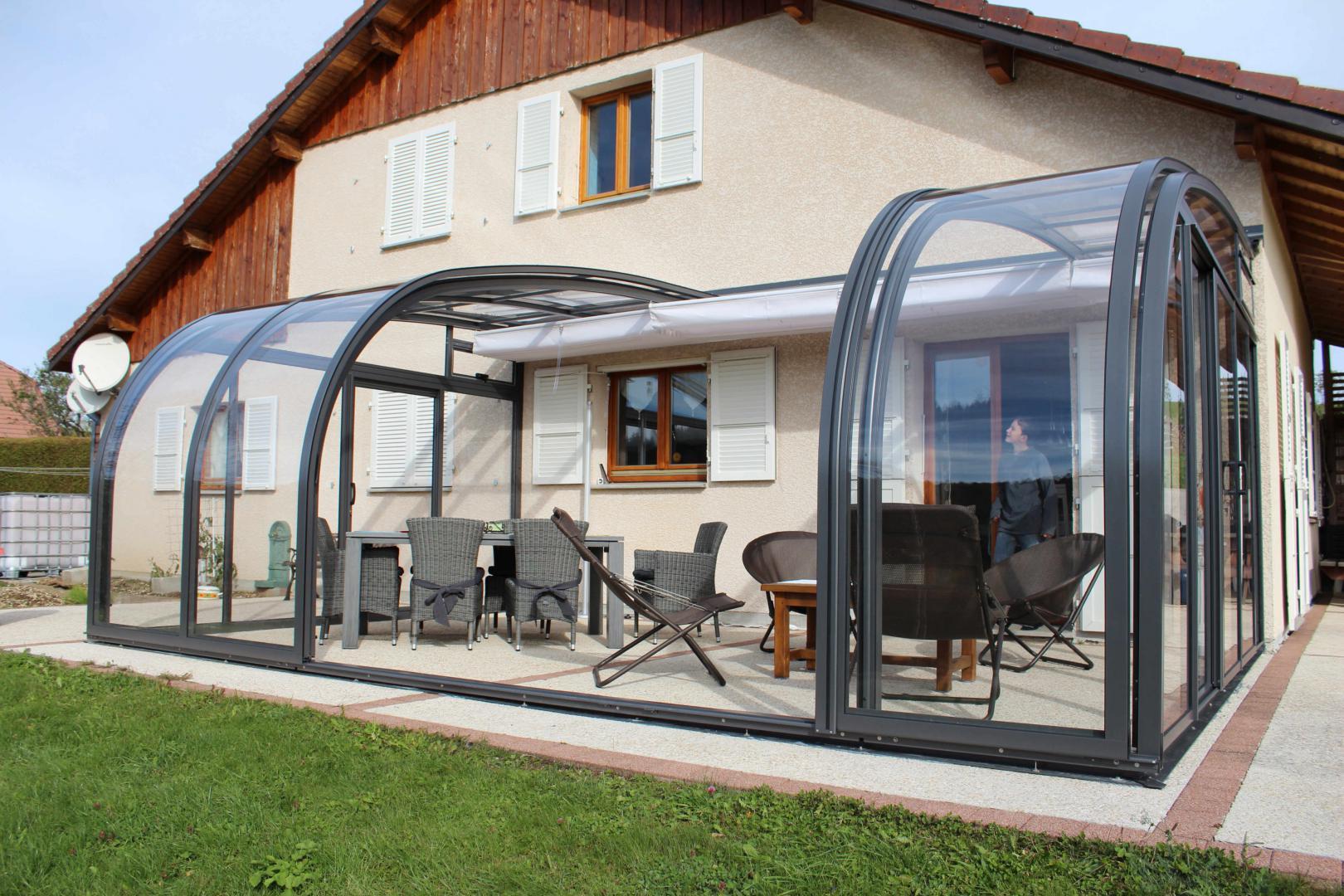 Abri De Terrasse Coulissant Et Veranda Retractable Aluminium ... intérieur Abri De Terrasse Coulissant