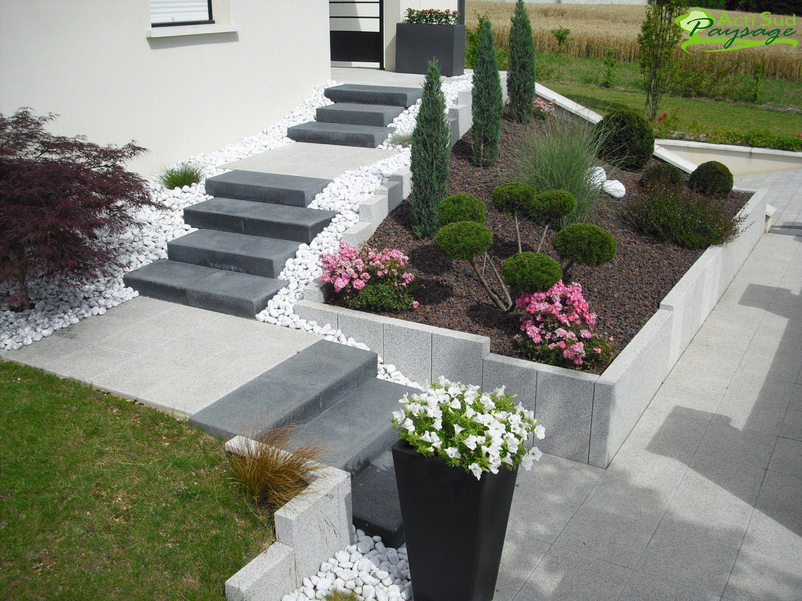 Actisud Paysage   Aménagement Jardin Devant Maison ... tout Ide Rocaille Devant Maison