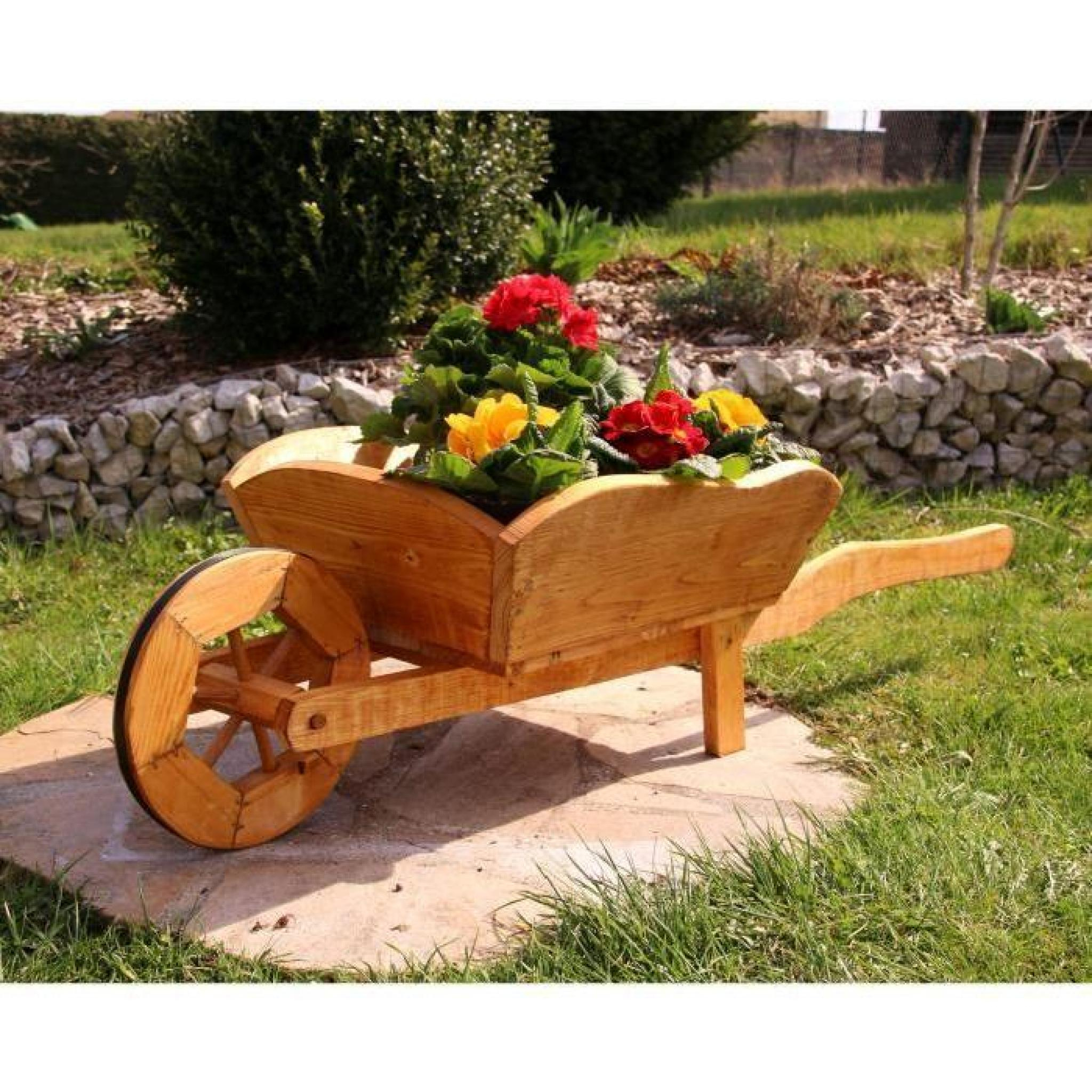 Brouette Fleurs Diable Brouette En Bois Typ 1 Moyen intérieur Brouette Décorative Pour Jardin