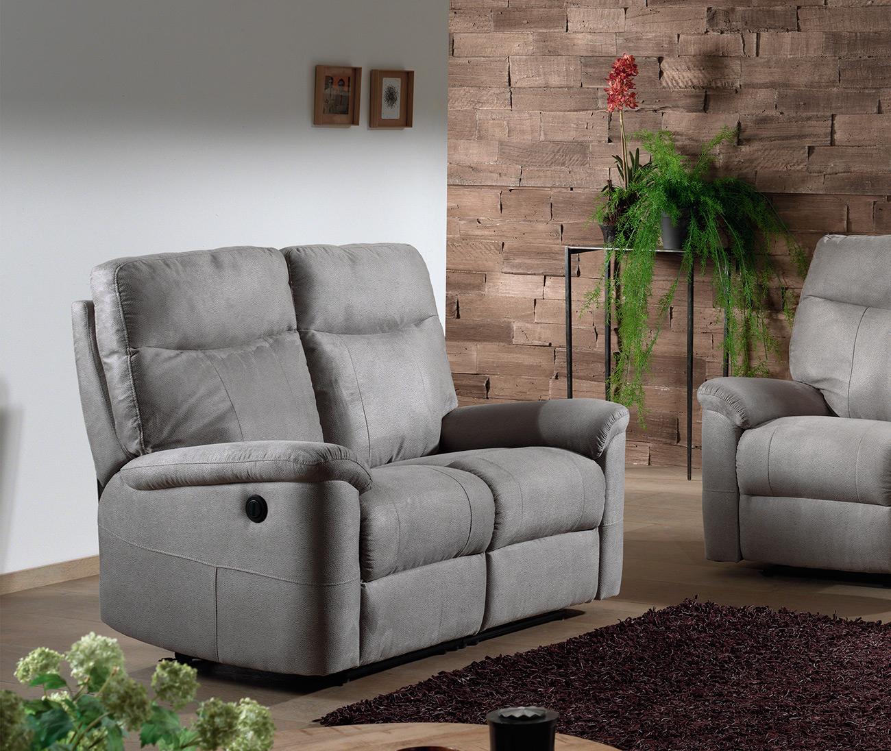 Canapé 2 Places En Tissu Relaxo Avec 2 Relax Électriques ... dedans Canape Relaxo Gris