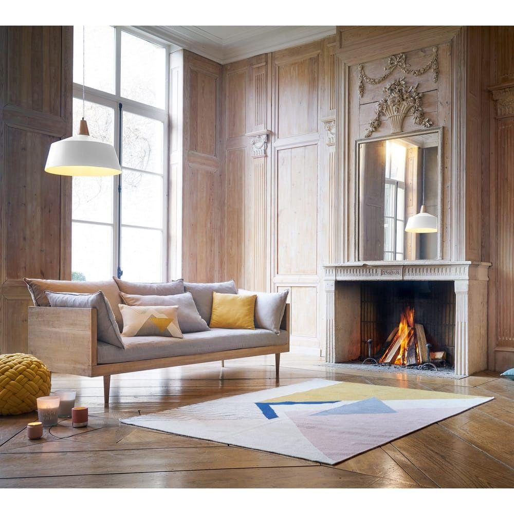 Canapé 3/4 Places En Lin Gris Clair Mathis | Maisons Du ... tout Canape But Mathis