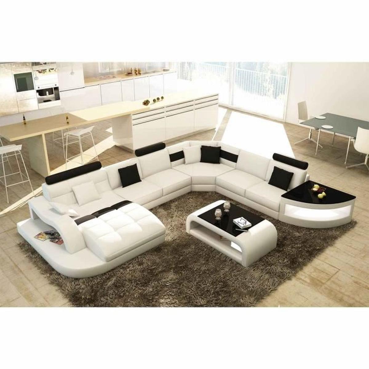 Canapé D'angle Design Panoramique Blanc Et Noir - Achat ... dedans Canapé Blanc Et Noir