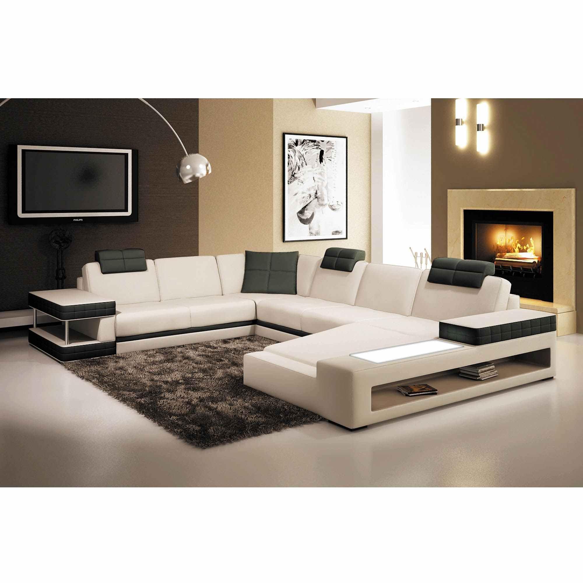 Canapé D'angle Panoramique En Cuir Blanc Et Noir Marcus - Angle Droite destiné Canapé Blanc Et Noir