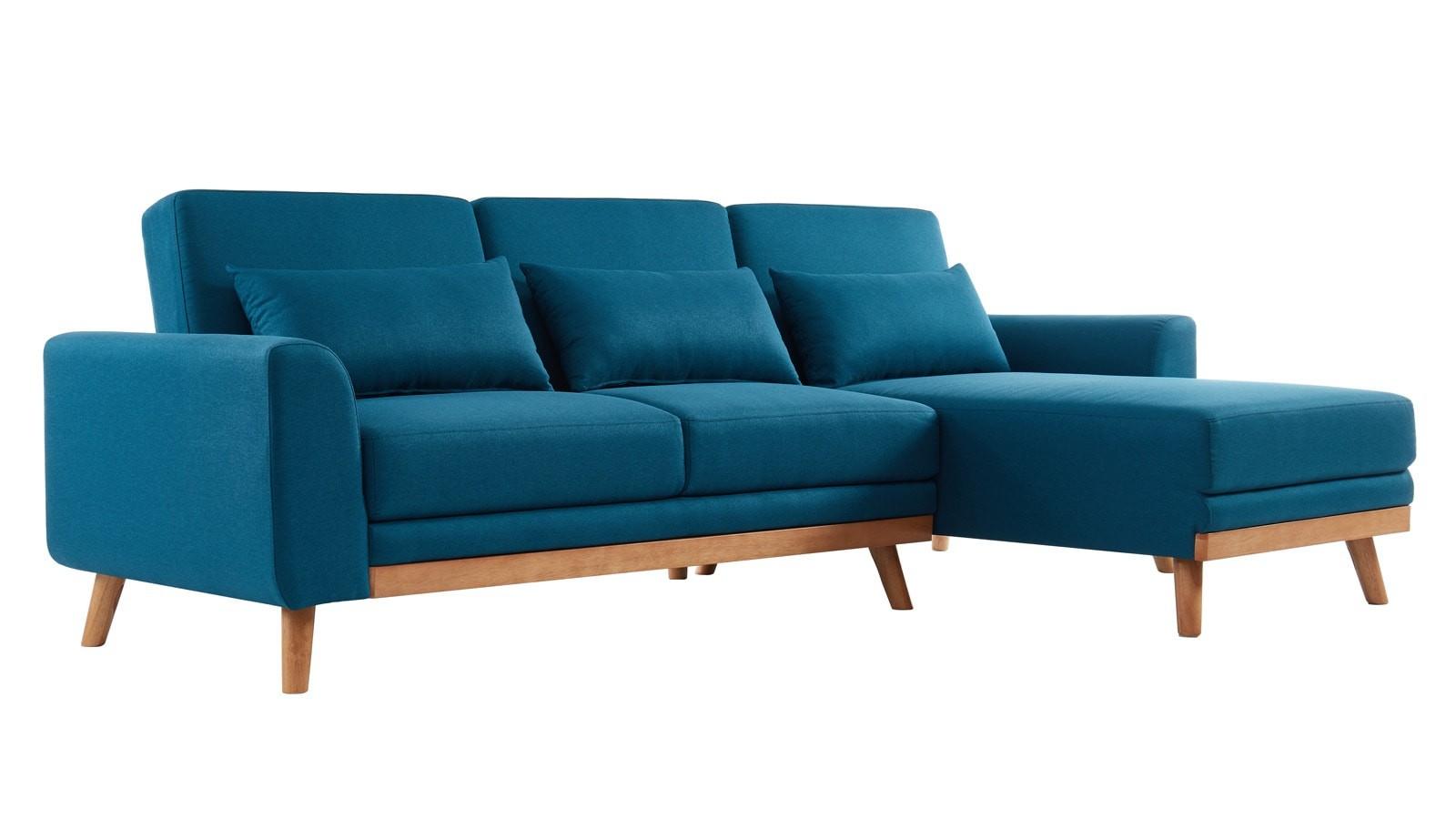 Canapé D'angle Scandinave Convertible En Tissu Bleu Avec ... tout Canapé Mathis 3 Places