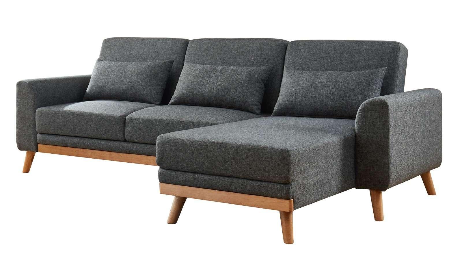 Canapé Dangle Scandinave Convertible En Tissu Gris Avec Couchage 110X210 Cm  - Collection Mathis pour Canapé Mathis 3 Places