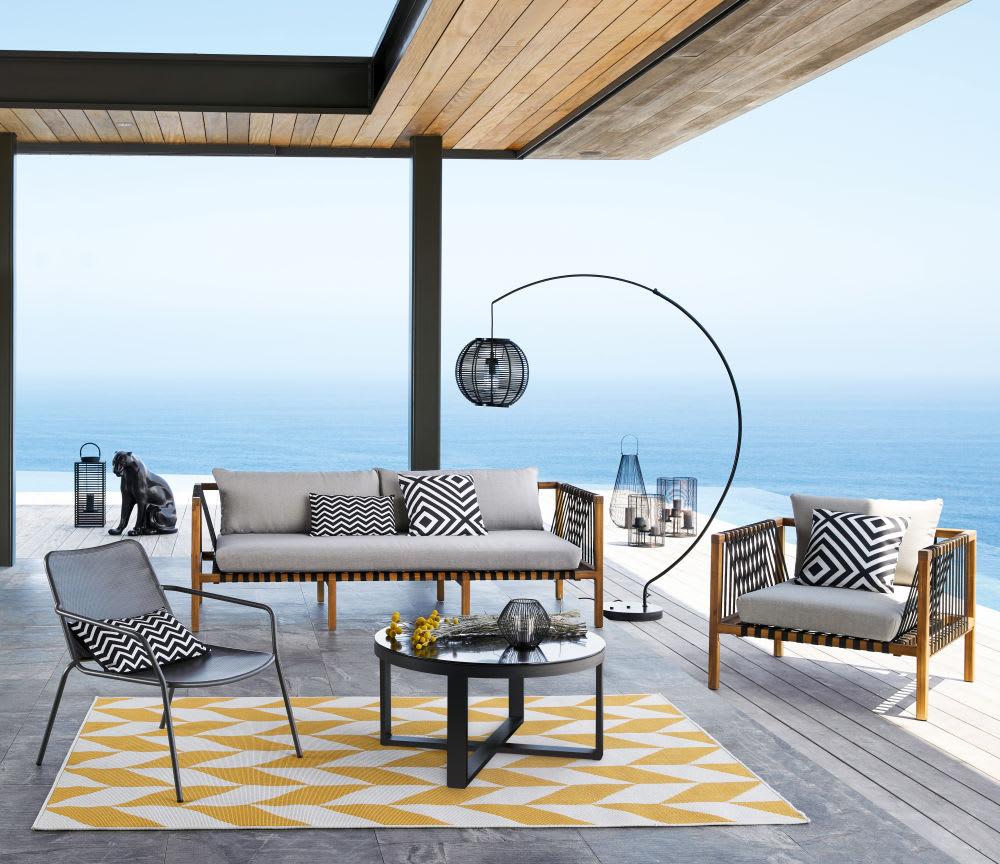 Canapé De Jardin 3 Places En Acacia Massif | Maisons Du Monde destiné Salon De Jardin Naxos