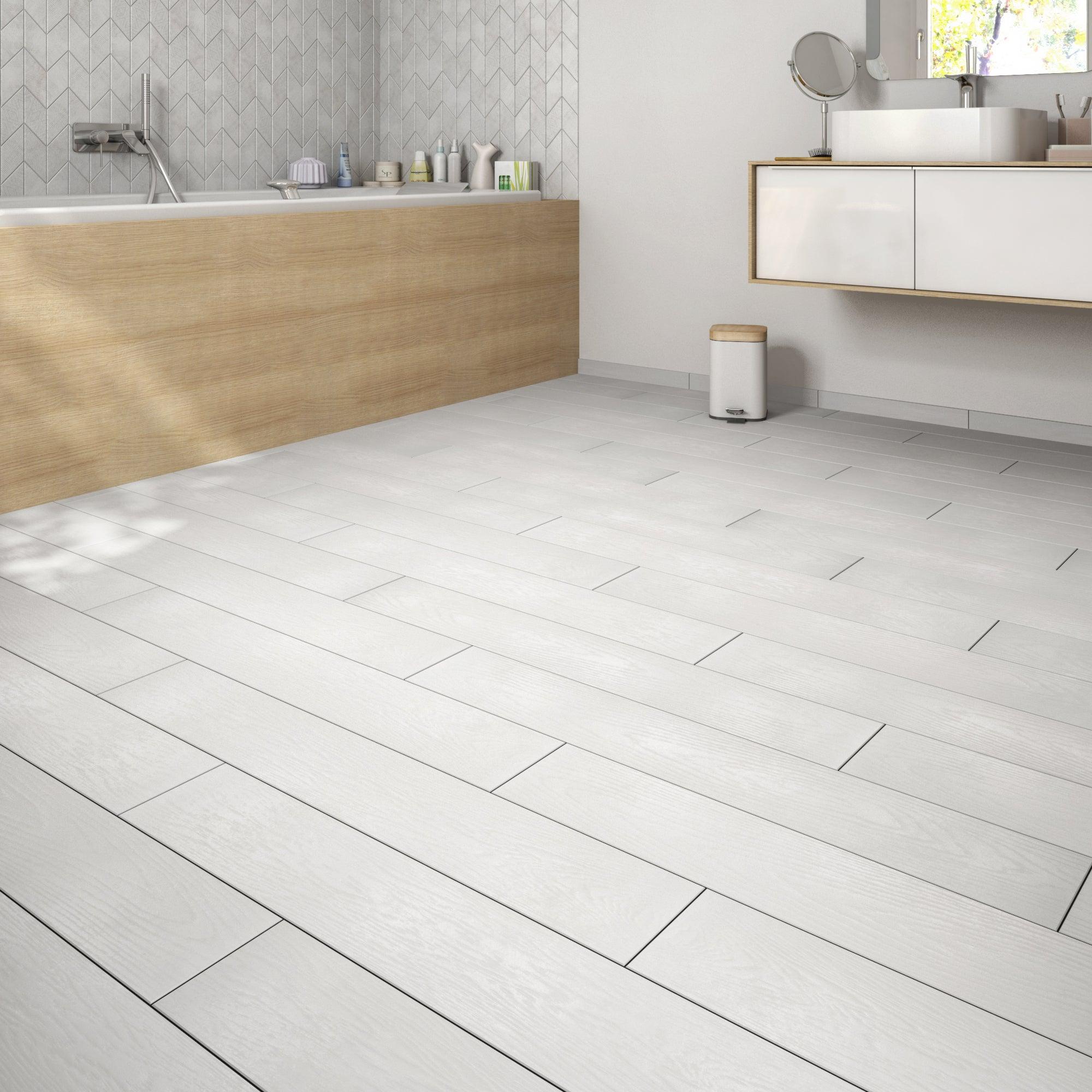 Carrelage Sol Et Mur Blanc Effet Bois Colorata L.15 X L.90 Cm destiné Carrelage Colorata Noir