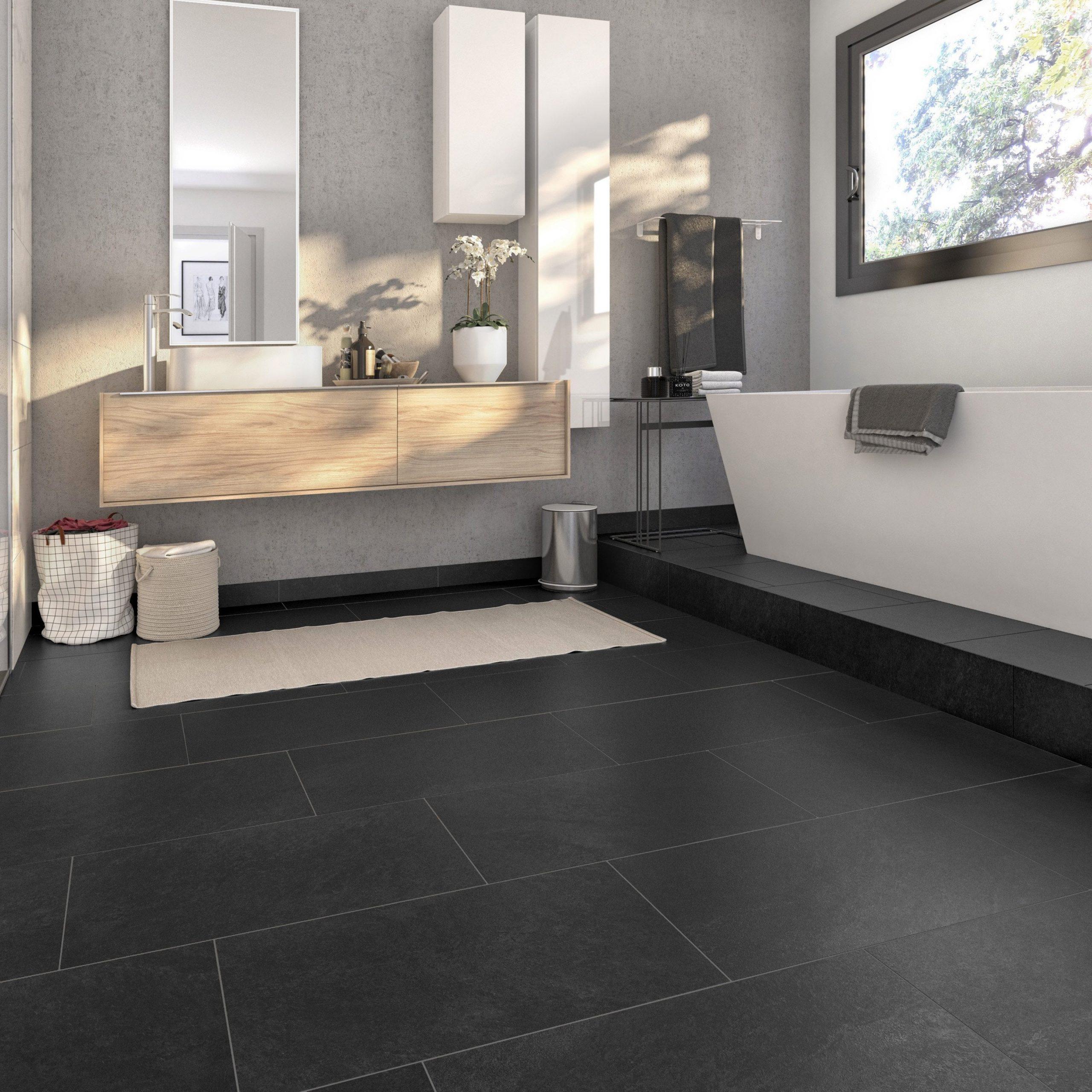 Carrelage Sol Et Mur Forte Effet Pierre Noir Quartzite L.30 ... intérieur Carrelage Colorata Noir