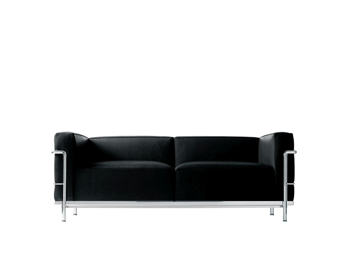 Cassina Lc3 Sofa, Zweisitzer, Verchromt, Leder Scozia, Schwarz à Canap Le Corbusier Cassina