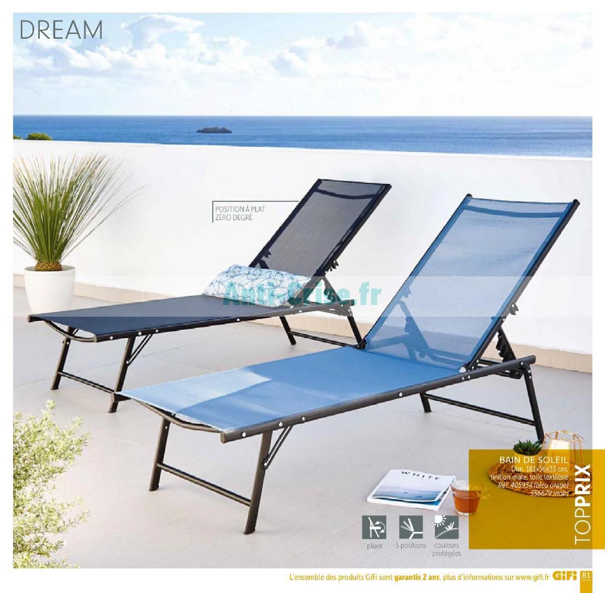 Catalogue Gifi Du 1Er Mai Au 31 Août 2018 (Plein Air ... intérieur Bain De Soleil Playa Gifi