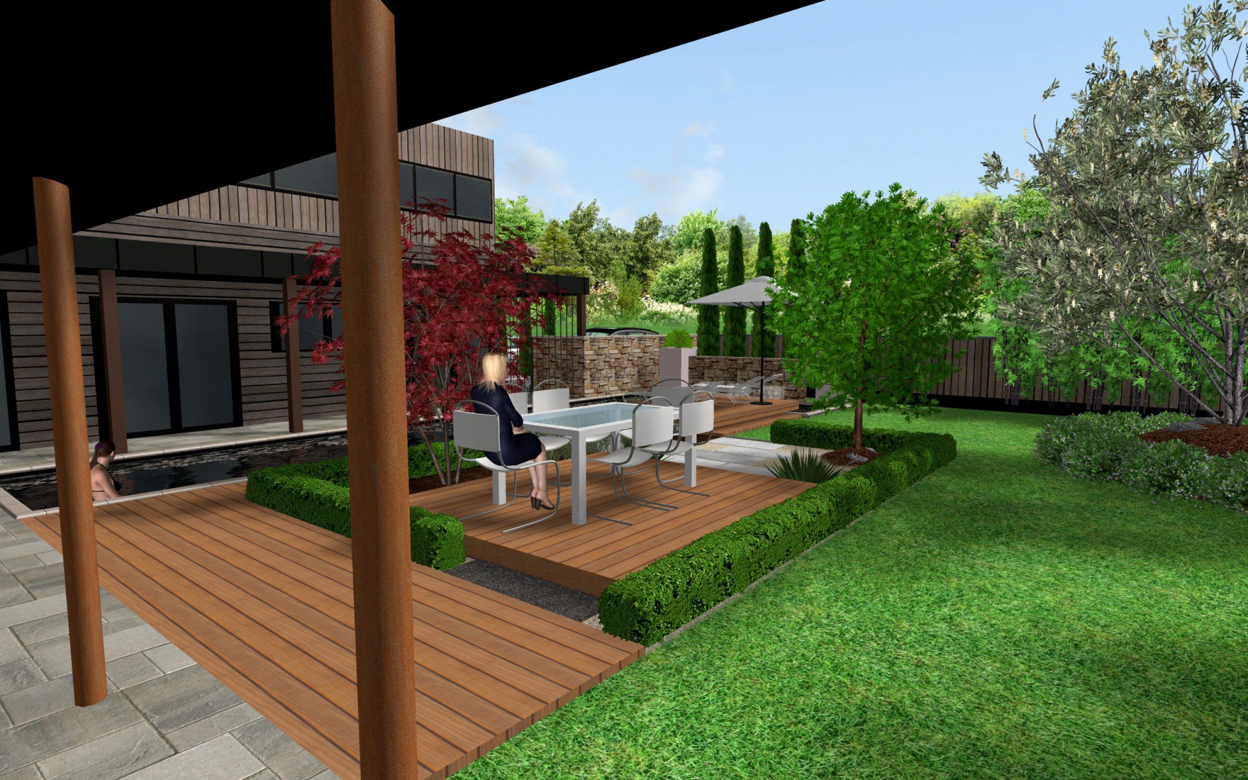 Conception De Plan De Jardins En 3D Et Esquisse À La Main ... tout Plan De Jardin 3D