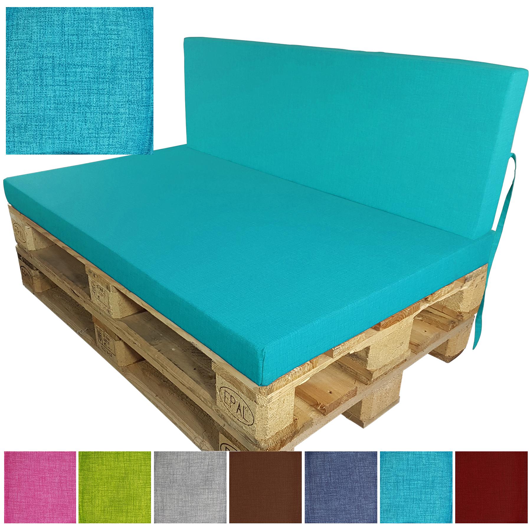 Coussin De Dossier Pour Palette Europe 120X40X8 Cm Turquoise ... concernant Coussins Exterieur Pour Palette