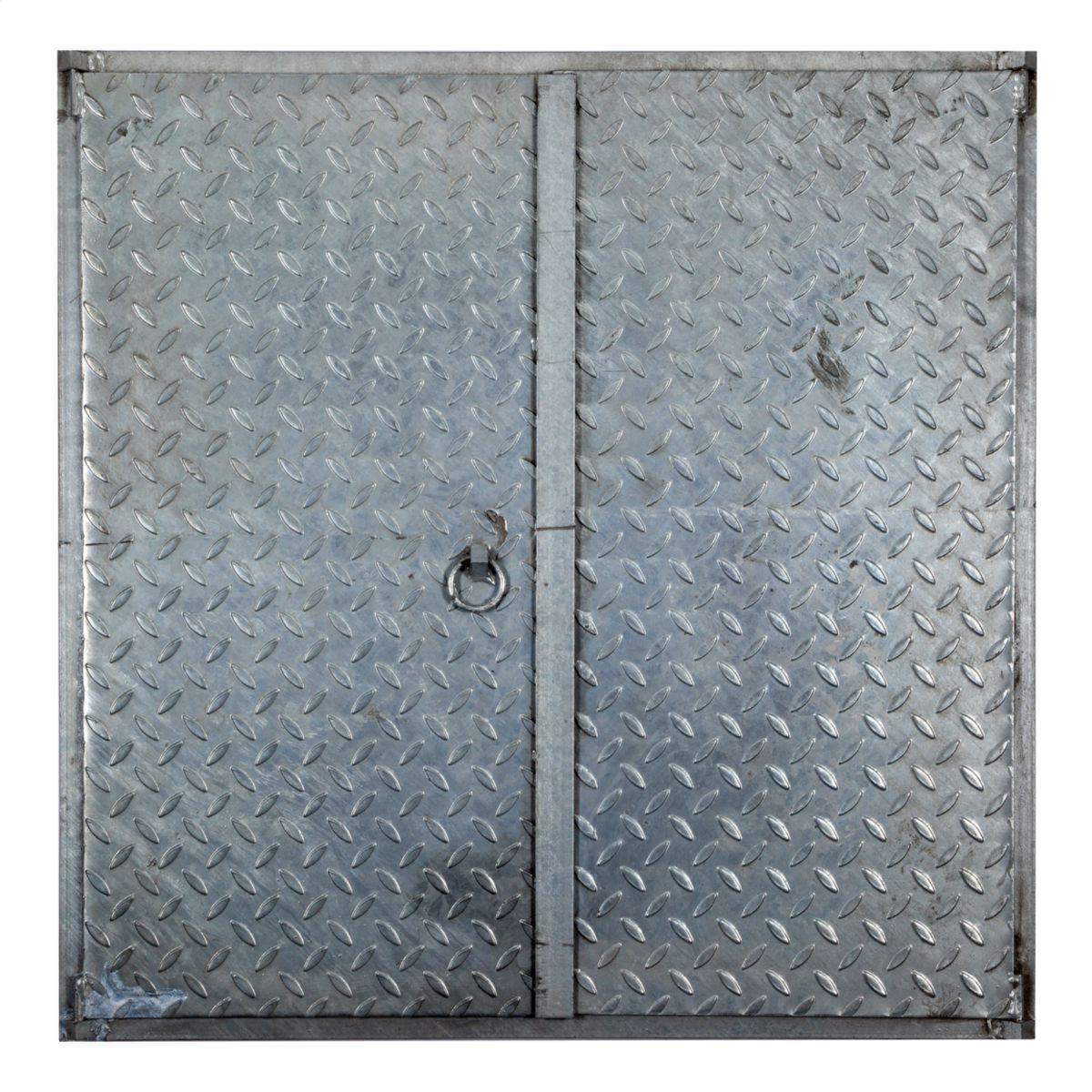 Couvercle Larmé Pour Passage De Voiture - Acier Galvanisé - 100X100 Cm intérieur Regard Béton 100X100