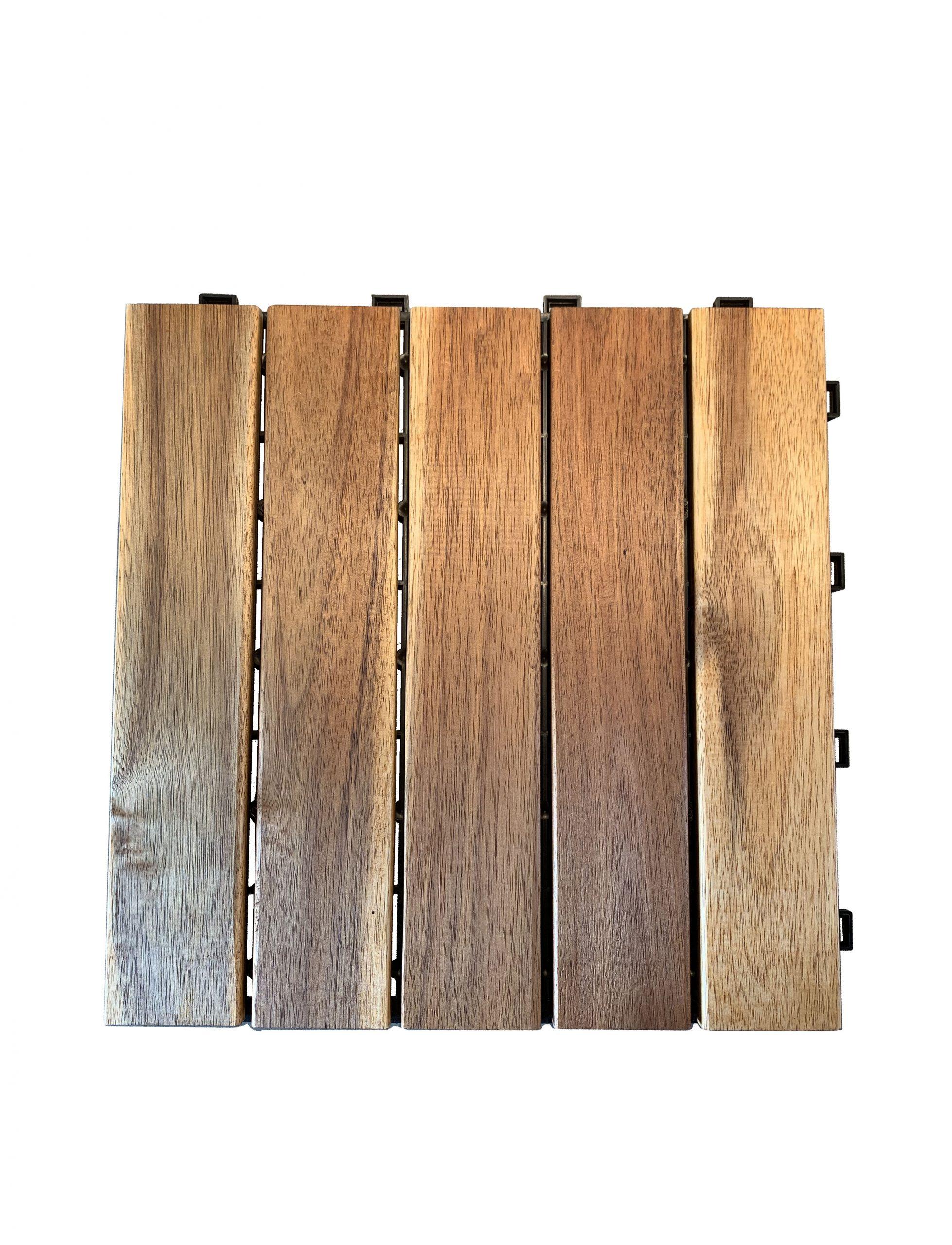 Dalle Clipsable Bois Acacia, Naturel, L.30 X L.30 Cm X Ep.19 Mm pour Dalle Bois Akola
