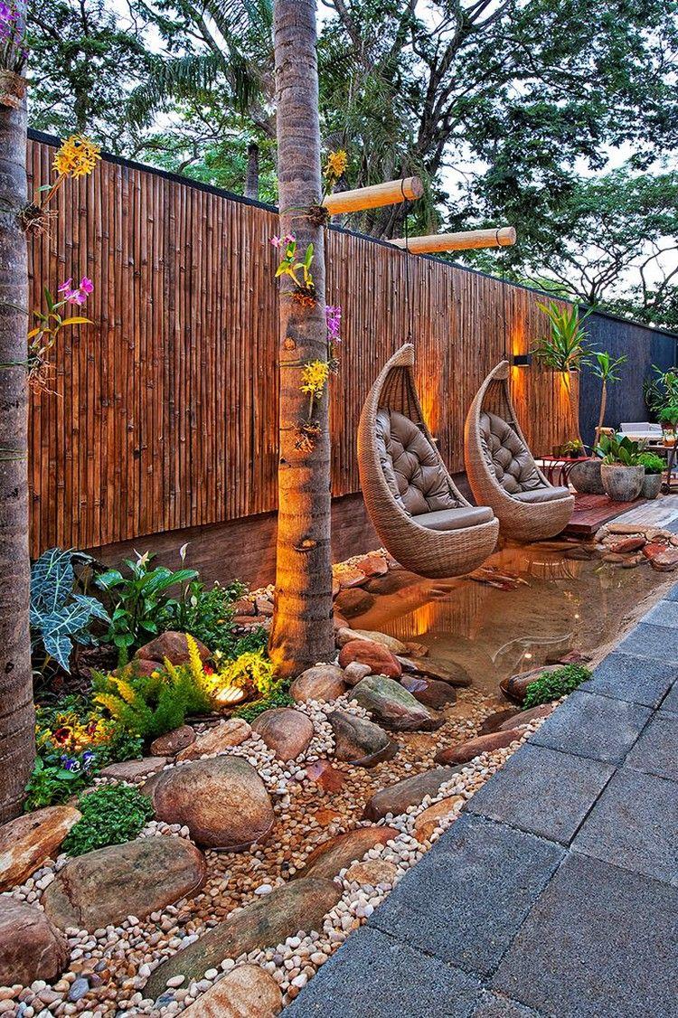 Décoration Jardin Extérieur Avec Sol En Pierre Grise ... encequiconcerne Decoration Exterieur