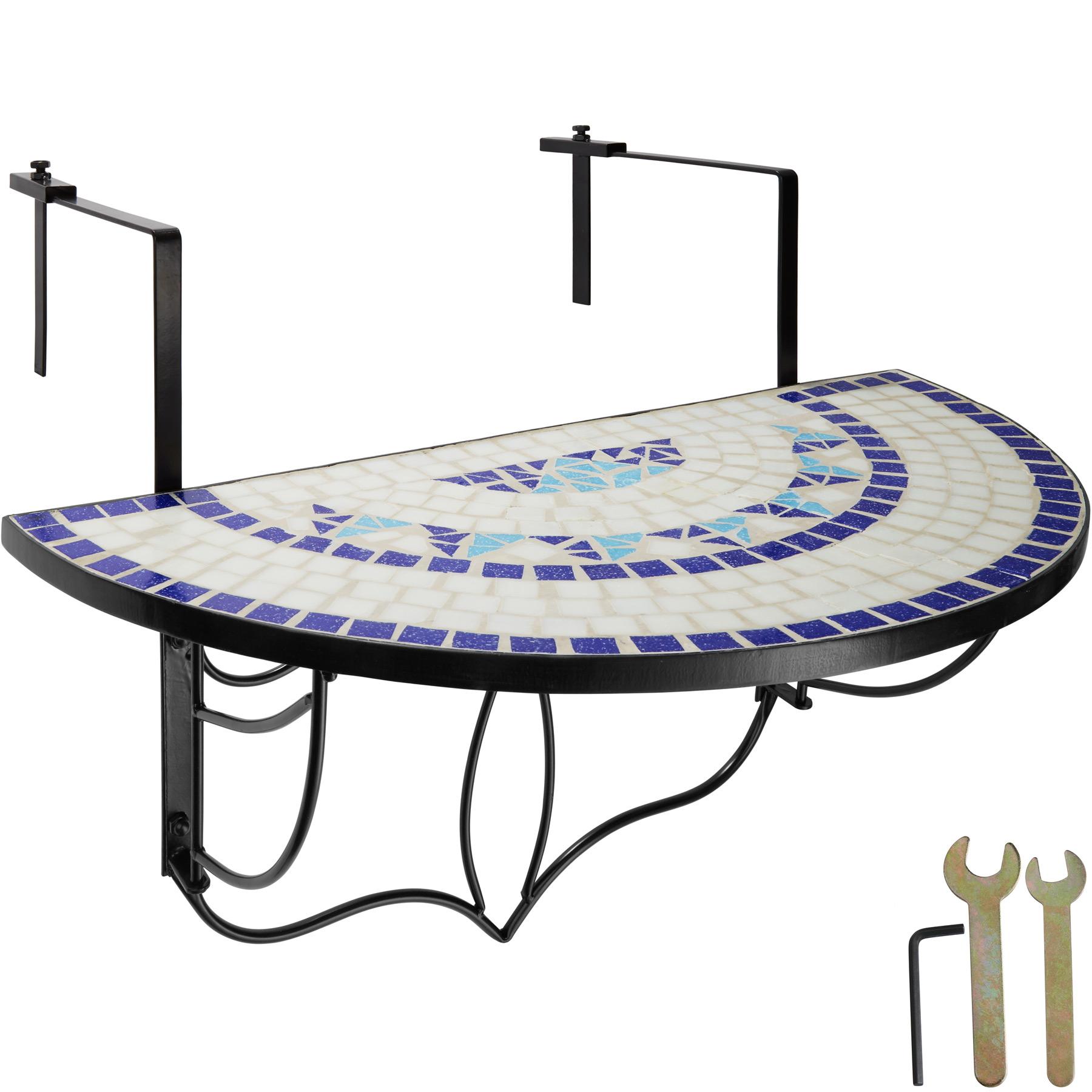 Détails Sur Table De Balcon Mosaïque Pliante Rabattable Table Suspendue  Murale Bleu-Blanc dedans Table Balcon Suspendue