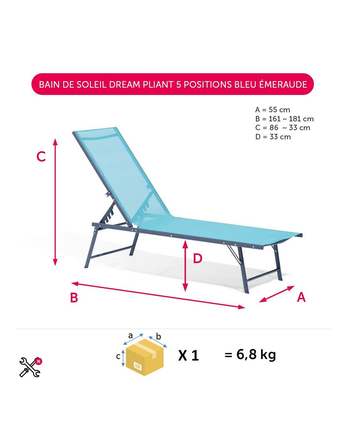 Diffusion Bain De Soleil Dream Pliant 5 Positions Bleu ... dedans Bain De Soleil Dream Pliant
