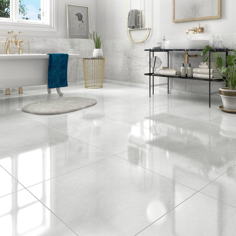 Du Carrelage Blanc Glossy Et Grand Format | Leroy Merlin avec Parquet Blanc Brillant