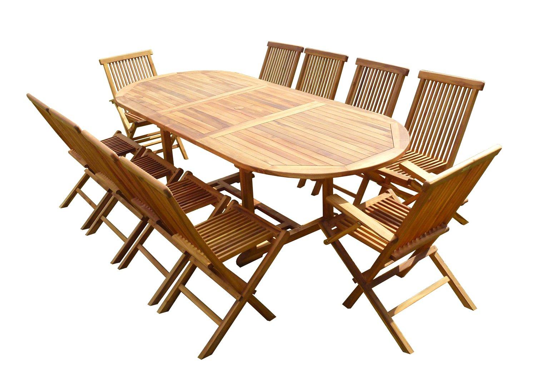 Ensemble Salon De Jardin En Teck Aspect Huilé Munggi 8 Chaises 2 Fauteuils  Jumak tout Salon De Jardin Teck Déstockage