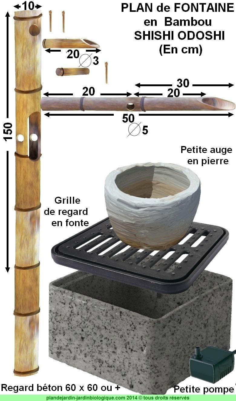 Faire Une Fontaine En Bambou : Plan De Montage D'un Shishi ... destiné Fabriquer Un Tsukubai