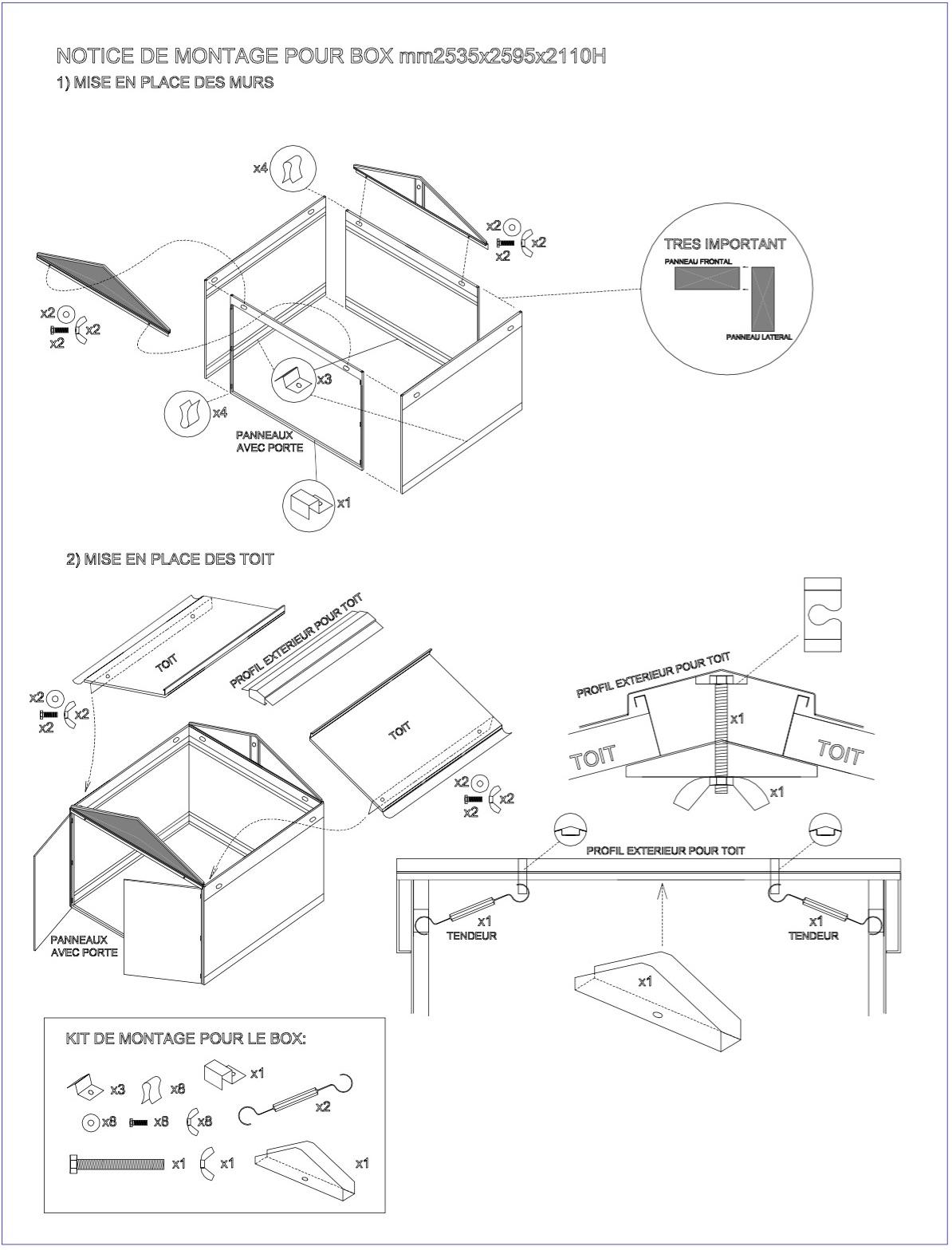Fiches Techniques | Notice De Montage (Garages & Abris ... intérieur Notice Montage